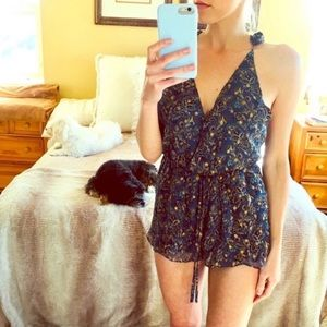 Sexy Blue Boho Band of Gypsy style romper New